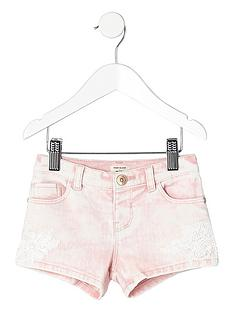 river-island-mini-girls-pink-crochet-denim-shorts