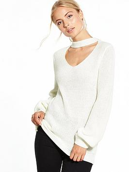 v-by-very-choker-cut-out-detail-jumper