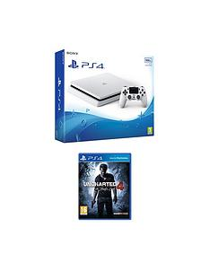 playstation-4-slim-500gbnbspwhite-console-with-uncharted-4-a-thiefs-endnbspplus-optional-extra-controller-andor-12-months-playstation-network