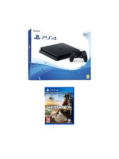 playstation-4-slim-500gb-black-console-with-tom-clancys-ghost-recon-wildlandsnbspplus-optional-extra-controller-andor-12-months-playstation-network