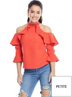 v-by-very-petite-three-quarter-sleeve-cold-shoulder-top