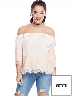 v-by-very-petite-lace-trim-bardot-top-champagne