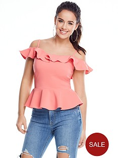 v-by-very-petite-frill-peplum-caminbsp--coral-pink