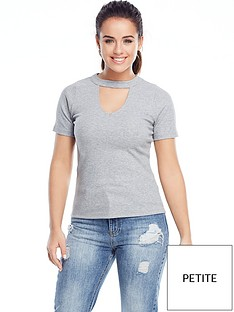 v-by-very-petite-jersey-rib-choker-top-grey-marl