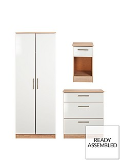 swift-montreal-3-piece-ready-assembled-package-ndash-2-door-wardrobe-3-drawer-chest-and-bedside-table-white-glossoak-effect-grey-glosswhite