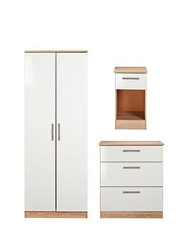 Swift Montreal Gloss 3-Piece Ready Assembled Package &Ndash; 2-Door Wardrobe, 3-Drawer Chest And Bedside Table thumbnail