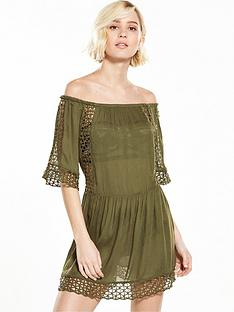 river-island-cutwork-khaki-bardot-dress