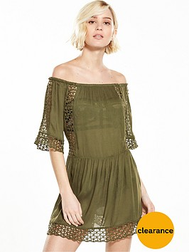 river-island-cutwork-khaki-bardot-dress