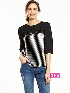 oasis-stripe-lace-34-sleeve-top