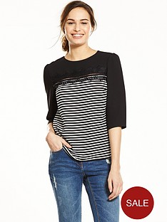 oasis-stripe-lace-three-quarter-sleeve-top