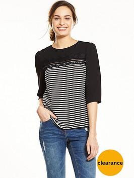 oasis-stripe-lace-three-quarter-sleeve-top