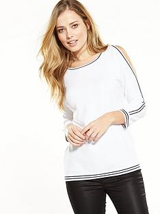 wallis-plain-tipped-cold-shoulder-jumper-white