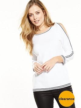 wallis-plain-tipped-cold-shoulder-jumper-white