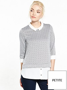 wallis-petite-spot-jacquard-2-in-1-top-mono