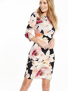 wallis-apricot-floral-asymmetricnbspdress