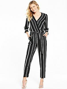 wallis-stripe-wrap-jumpsuit-monochrome