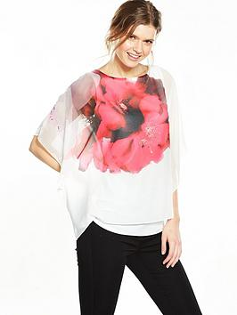 wallis-abstract-floral-overlayer-blouse-ivory