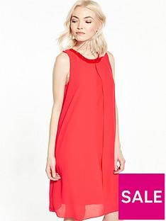 wallis-petite-embellished-overlay-dress-coral