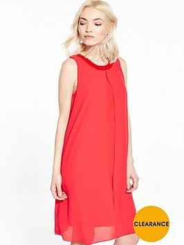 wallis-petite-embellished-overlay-dress-coral