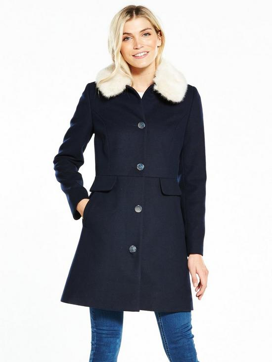 V by Very Dolly Coat With Faux Fur Collar - Navy | very.co.uk