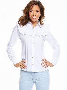 myleene-klass-ruffle-front-poplin-blouse-white