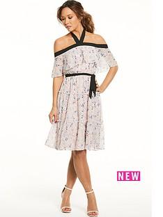 myleene-klass-contrast-strap-ruffle-dress