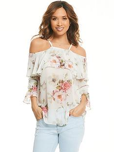 myleene-klass-cold-shoulder-ruffle-front-blouse