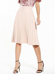 oasis-faux-leather-pleat-midi-skirt-blush