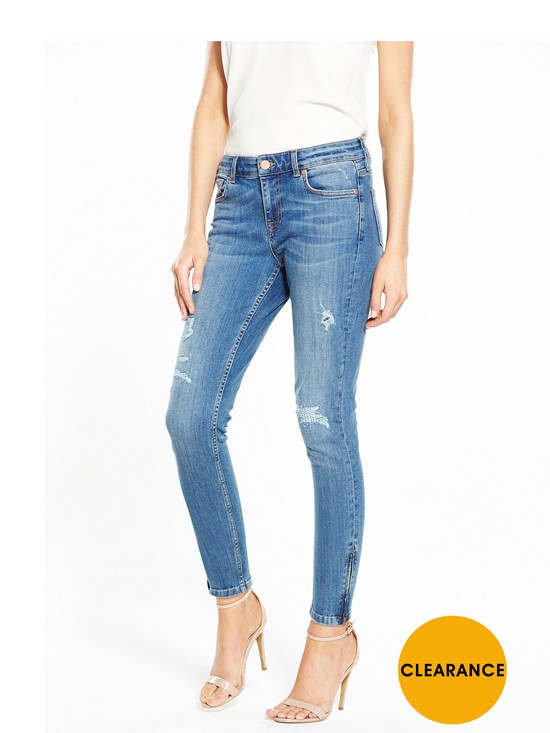 Zip Hem Skinny Jeans - Blue Oasis Ku4tjw6