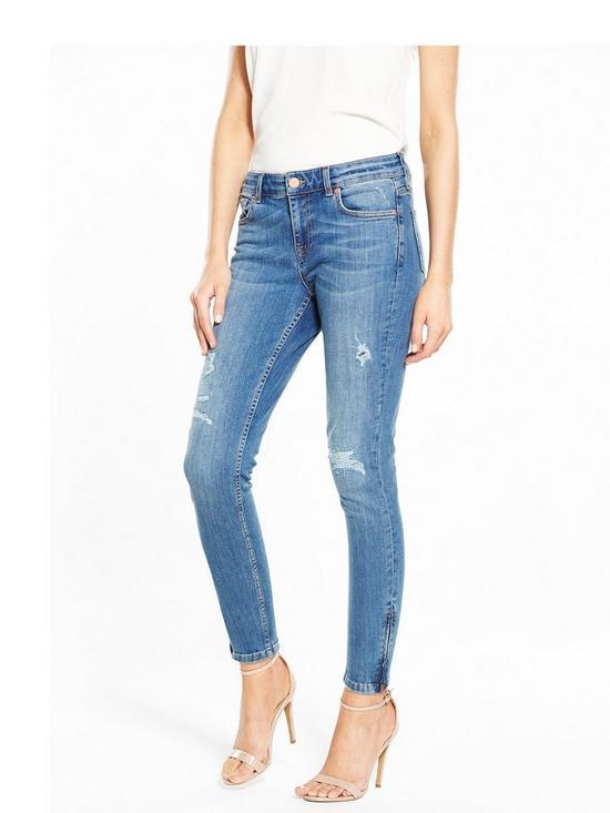 Zip Hem Skinny Jeans - Blue Oasis