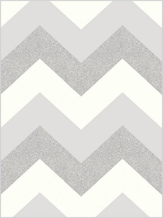 ARTHOUSE Glitter Chevron Platinum Wallpaper