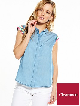 v-by-very-petite-geo-yoke-sleeveless-denim-shirt