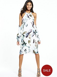 neon-rose-elemental-print-cold-shoulder-dress