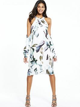 neon-rose-elemental-print-cold-shoulder-dress