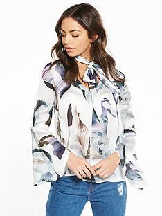 neon-rose-elemental-print-tie-neck-blouse