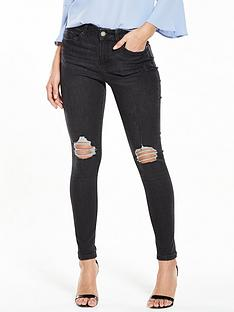miss-selfridge-lizzie-ripped-raw-hem-jean-black