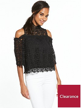 miss-selfridge-premiumnbspguipure-lace-cold-shoulder-top