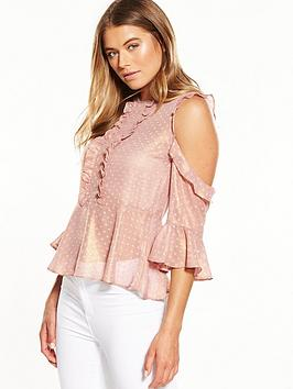 miss-selfridge-dobby-cold-shoulder-top