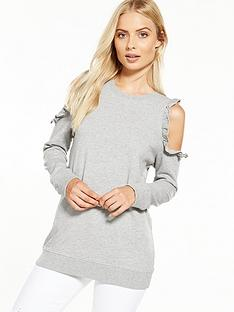 miss-selfridge-cold-shoulder-sweat-top
