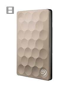 Seagate 1Tb Backup Plus Ultra Slim Portable External Hard Drive for PC & Mac - Gold