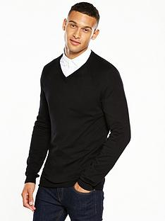 v-by-very-mens-v-neck-jumper-black