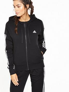 Adidas Essentials 3 Stripe Full Zip Hoodie - Black