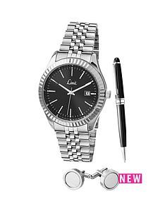 limit-limit-black-dial-stainless-steel-bracelet-watch-pen-amp-cufflink-mens-gift-set