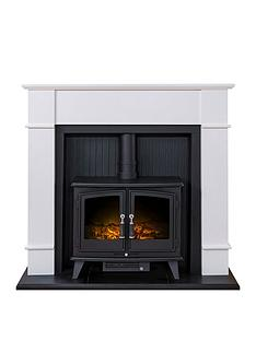 adam-fire-surrounds-oxford-stove-suite-in-pure-white-with-woodhousenbspelectricnbspstove