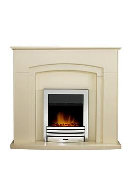 Adam Fires & Fireplaces Falmouth Fireplace Suite In Stone Effect With Eclipse Electric Fire In Chrome