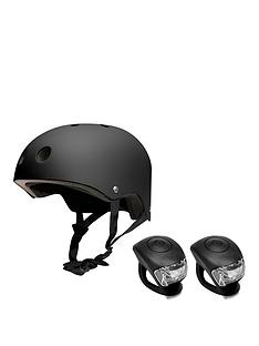 FERAL Helmet 54-58cm Black With Urban proof Silicone Bike Light Set