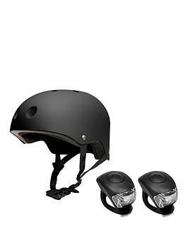 feral-helmet-54-58cm-black-with-urban-proof-silicone-bike-light-set