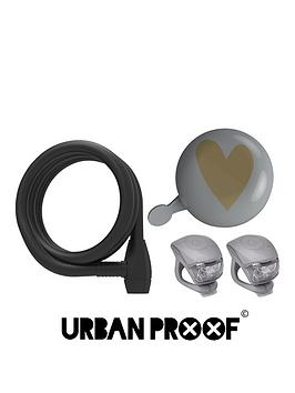 Image of Urban Proof Ding Dong Heart Bell, Sprial Lock And Silicon Light Set