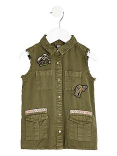 river-island-mini-girls-khaki-elephant-sleeveless-shaket