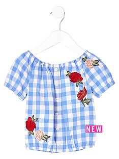 river-island-mini-girls-blue-gingham-rose-print-bardot-top